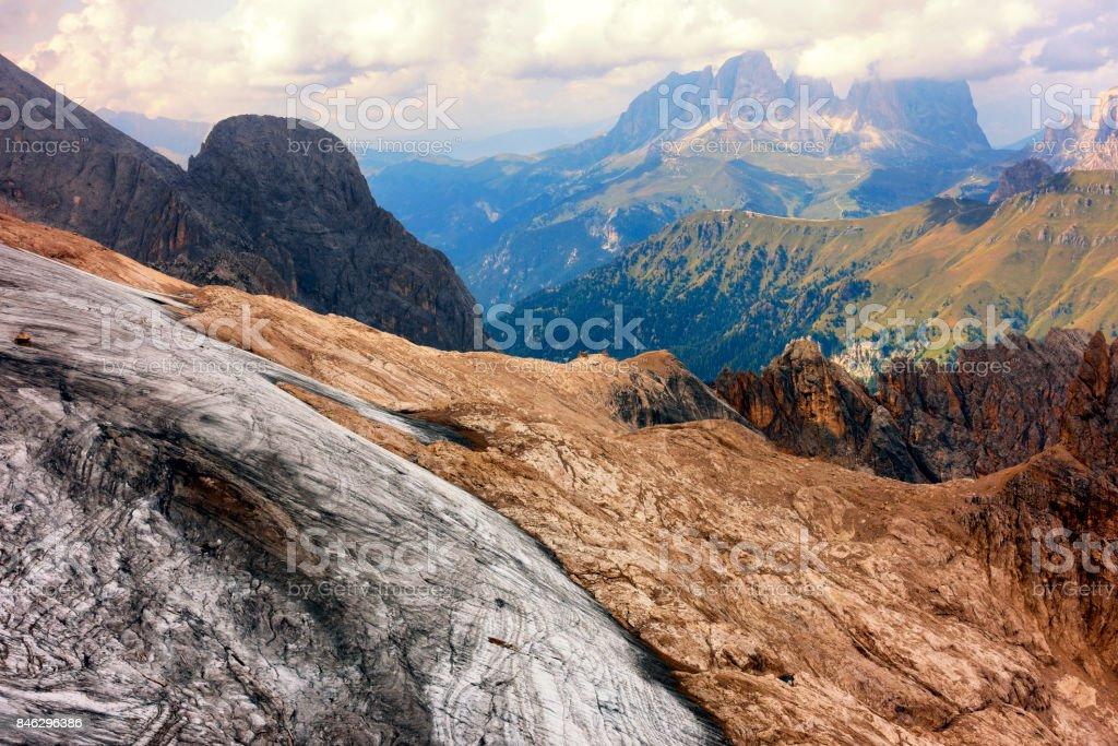 View of Dolomites Alps, from Mountain Marmolada peak stock photo