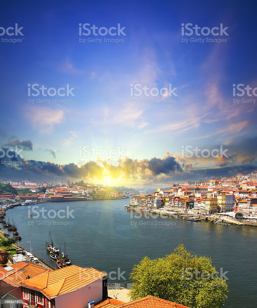view of Douro riverside and Dom Luiz bridge  Porto Portugal stock photo