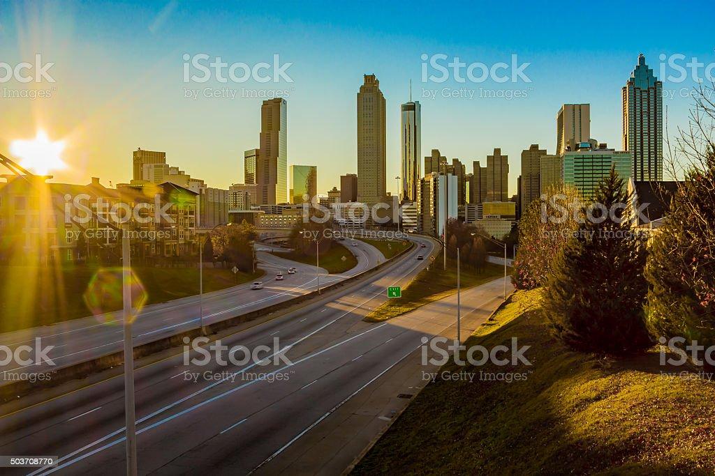View of Downtown Atlanta from Jackson Street Bridge stock photo