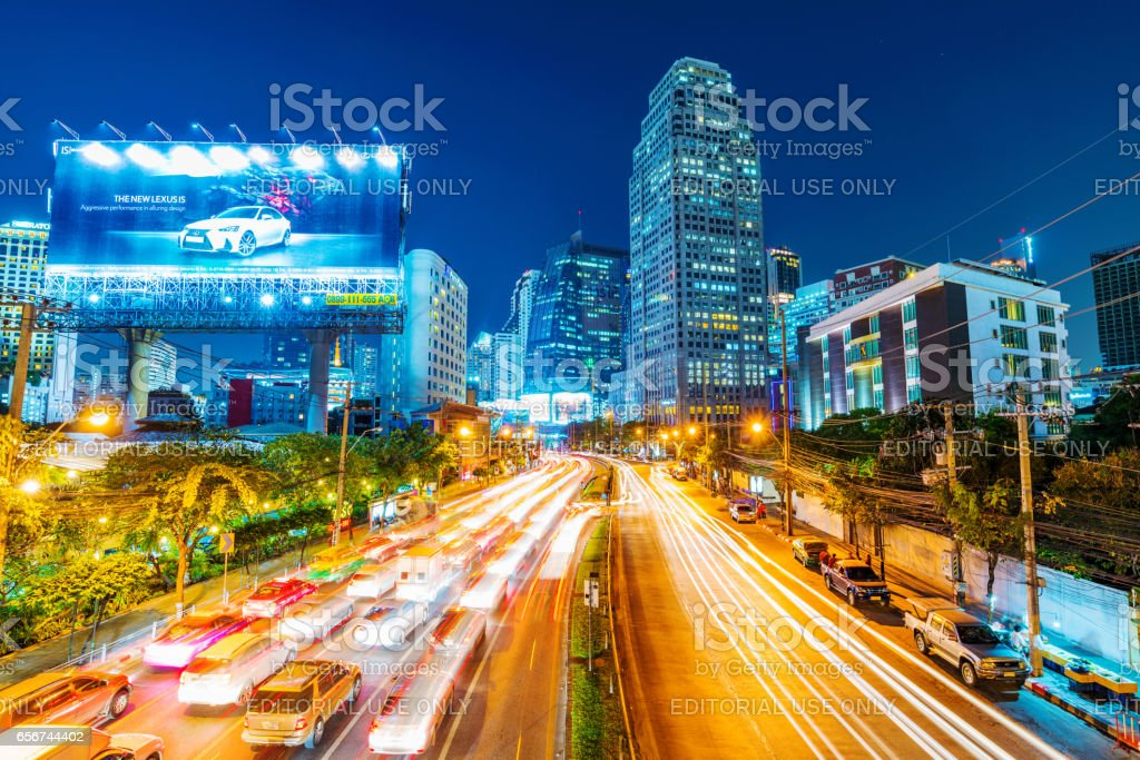 View of downtown Bangkok at night stock photo