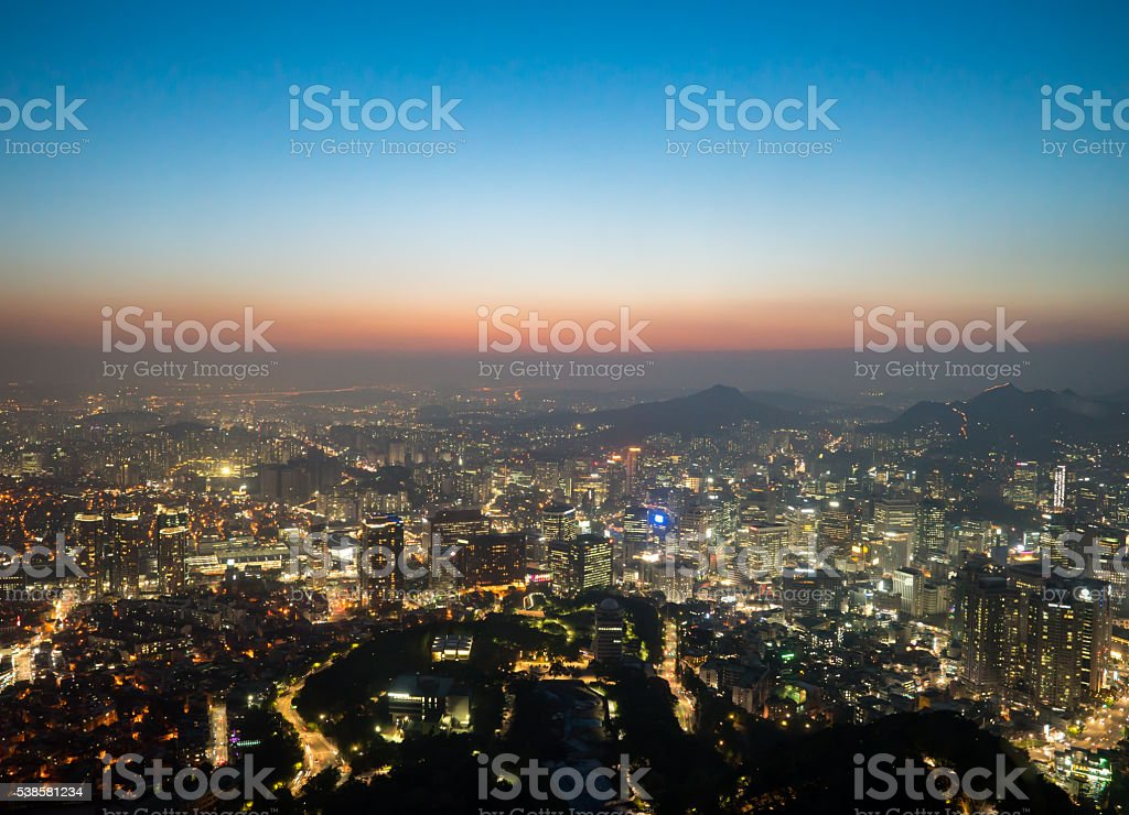 View of downtown cityscape and city slyline in Seoul stock photo