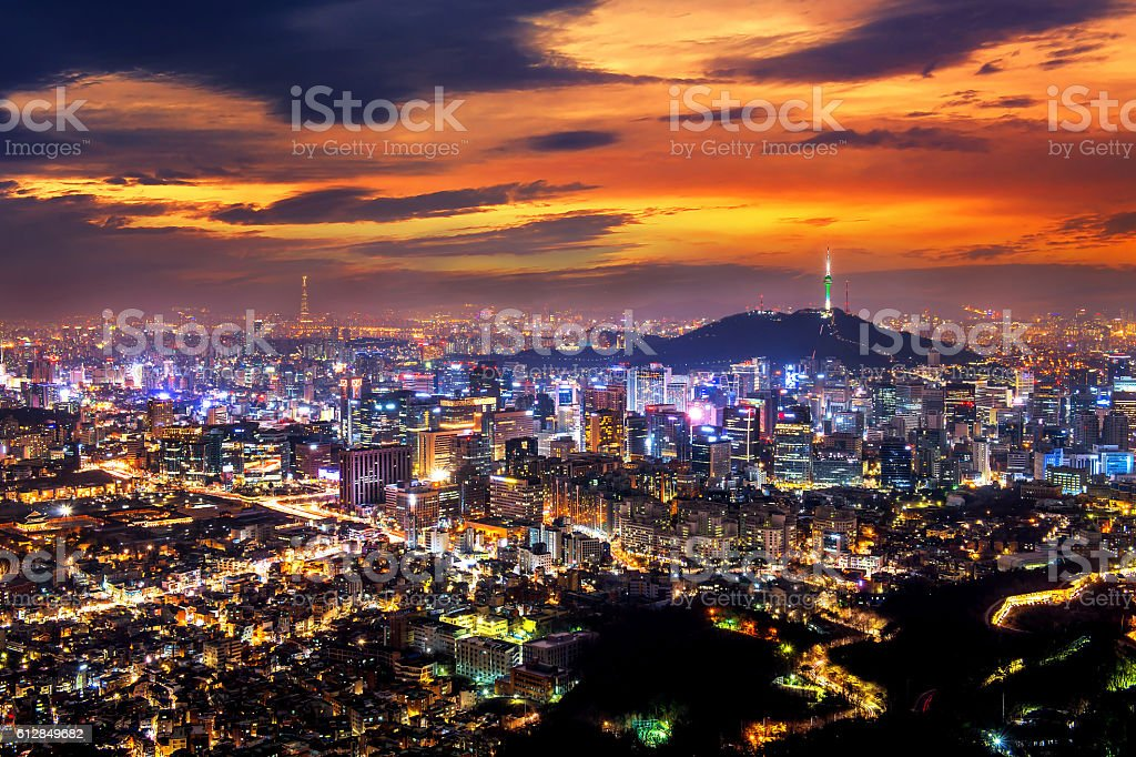View of downtown cityscape and Seoul tower in Seoul stock photo