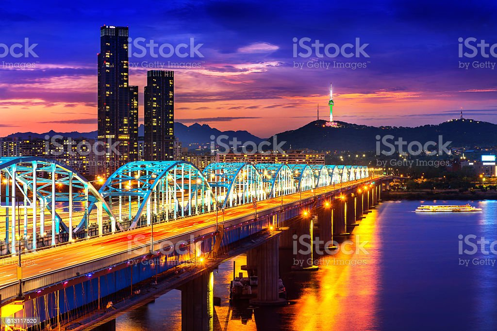 View of downtown cityscape at Dongjak Bridge and Seoul tower. stock photo