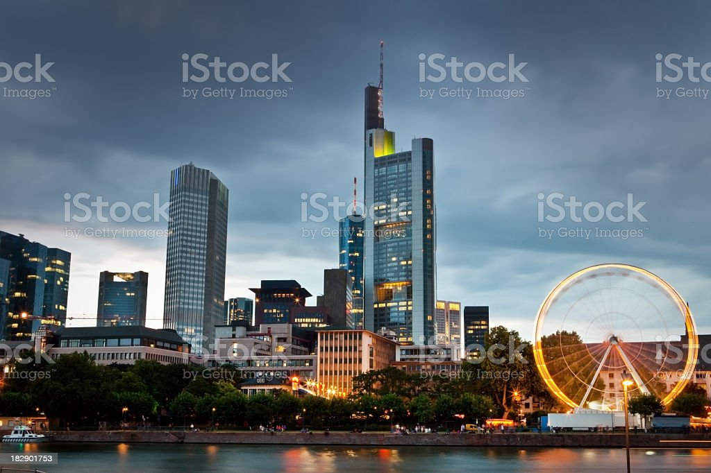 A view of downtown Frankfurt at dusk royalty-free stock photo