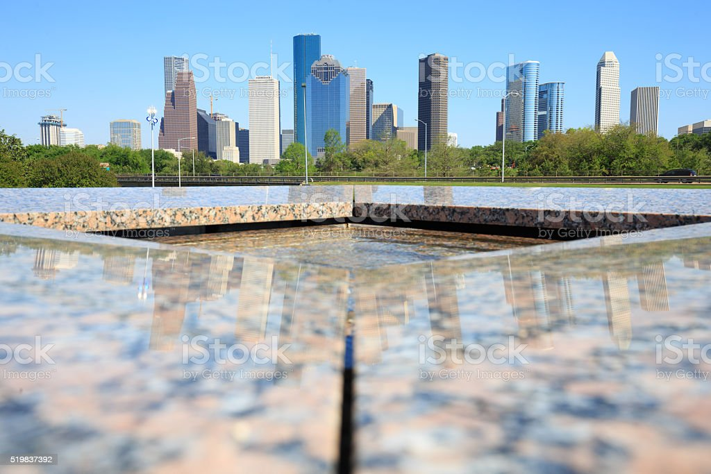 View of downtown Houston city in Houston Police Officer Memorial royalty-free stock photo
