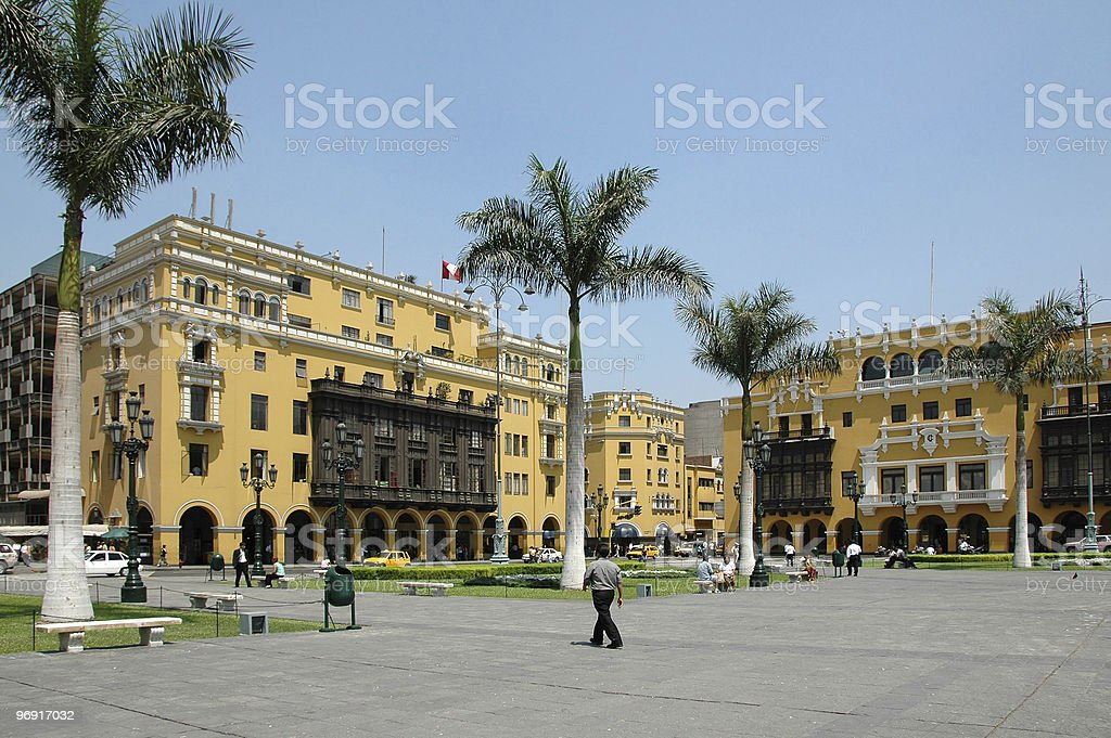 View of downtown Lima Peru stock photo