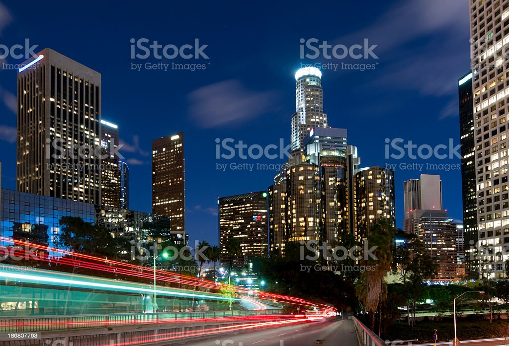 View of Downtown Los Angeles at dusk with blue sky in back royalty-free stock photo