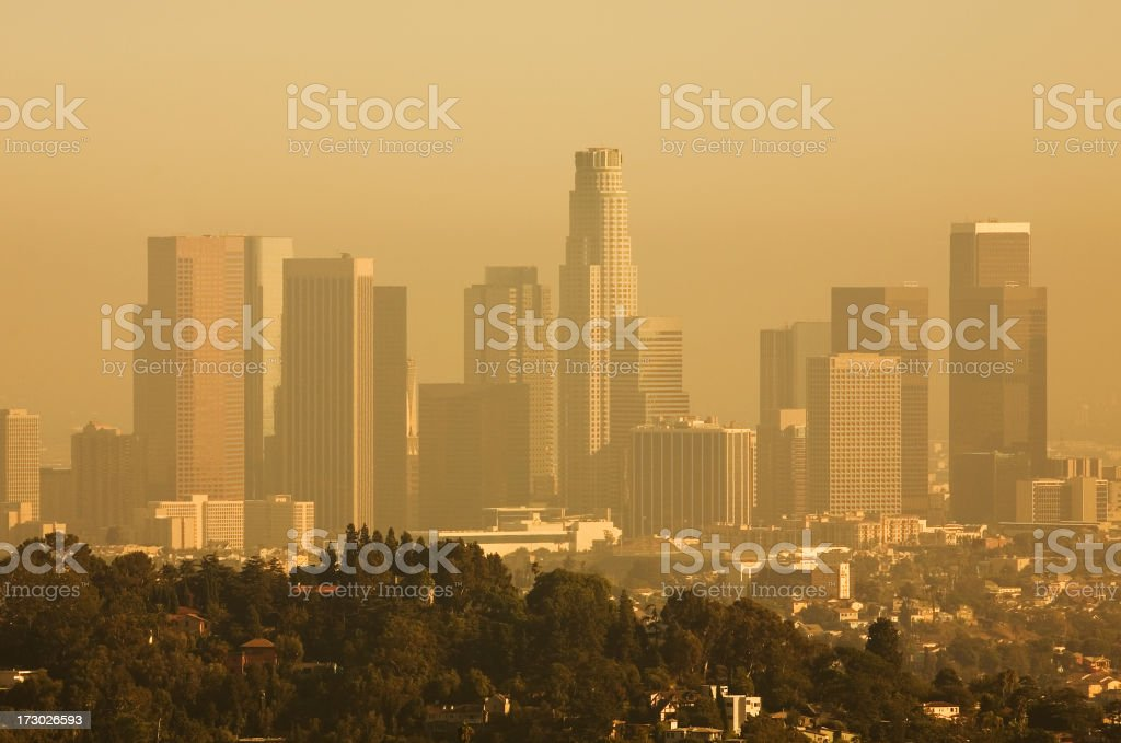 View of Downtown Los Angeles on a Smog Filled Day stock photo
