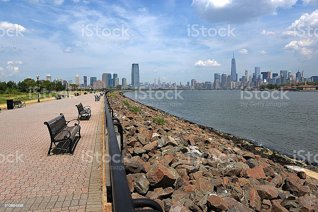 View of Downtown Manhattan and Jersey City from Liberty Park stock photo