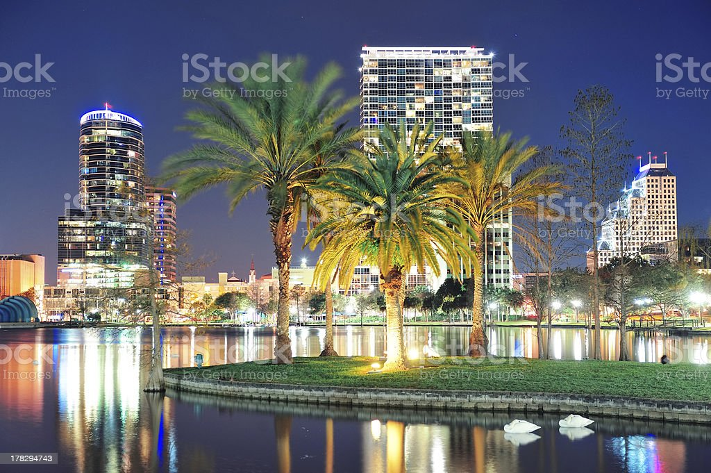 View of downtown Orlando at night stock photo