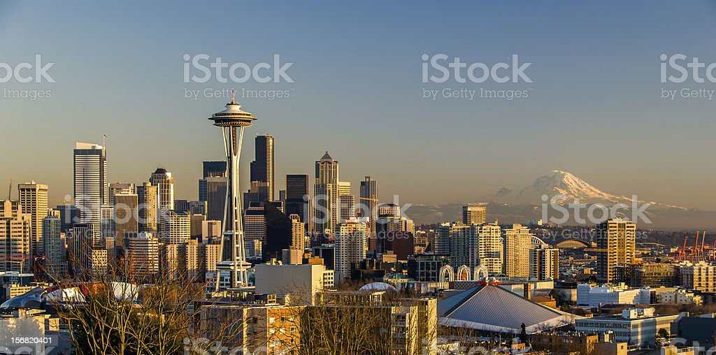 View of downtown Seattle and Mt.Rainier from Kerry Park stock photo