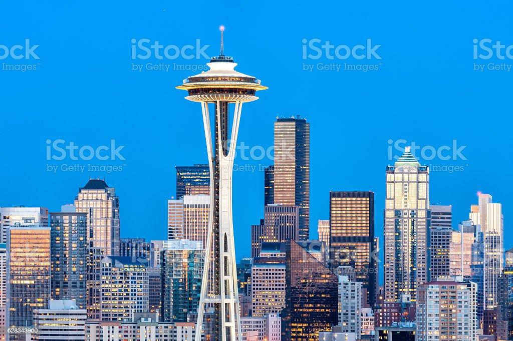 View of downtown Seattle skyline in Seattle Washington, USA stock photo