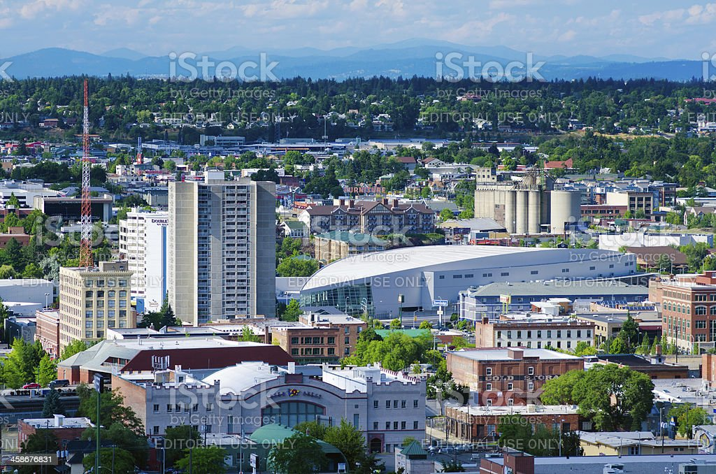 View of downtown Spokane, WA from South Hill stock photo