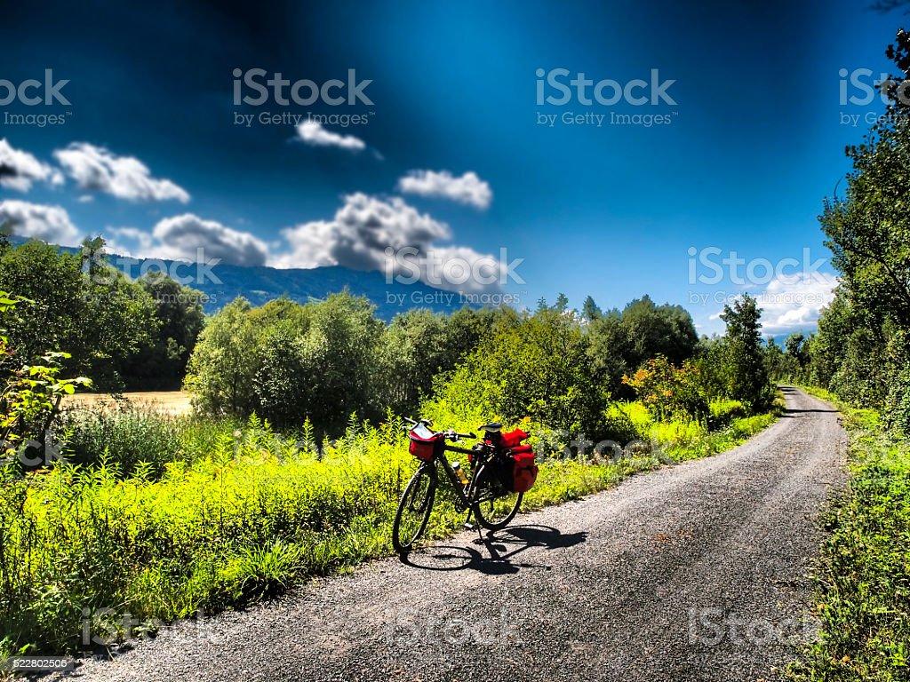 View of drau cycle path with bike near Spittal, Austria stock photo