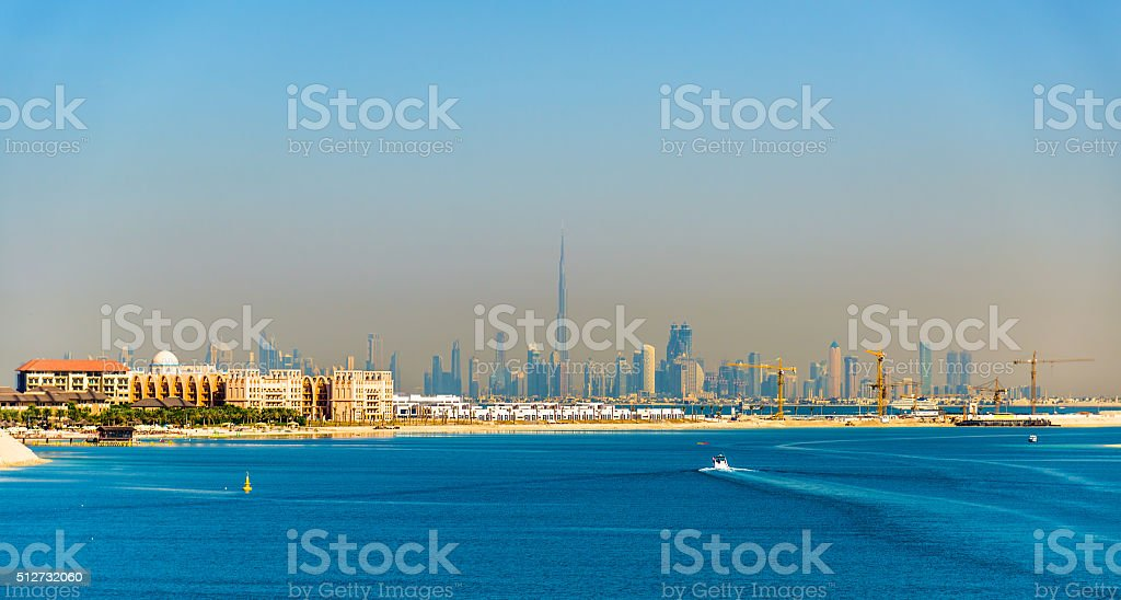 View of Dubai Downtown from Palm Jumeirah island stock photo