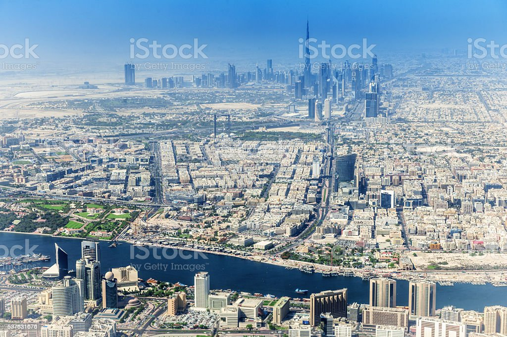 View of Dubai skyscraper and Burj Khalifa stock photo