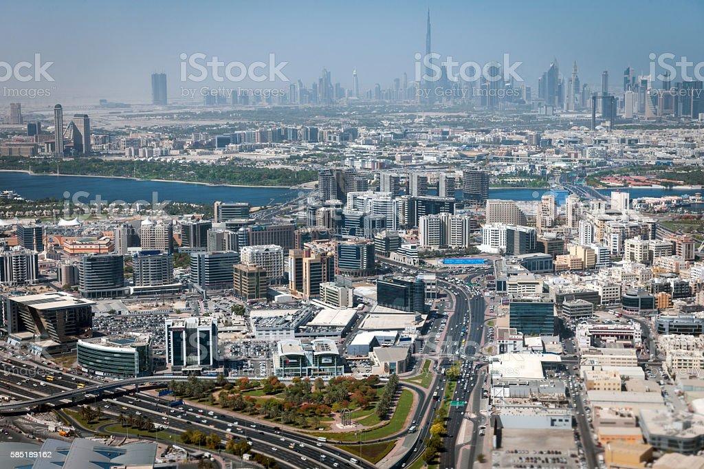 View of Dubai skyscraper and Burj Khalifa stock photo