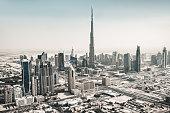 View of Dubai skyscraper and Burj Khalifa