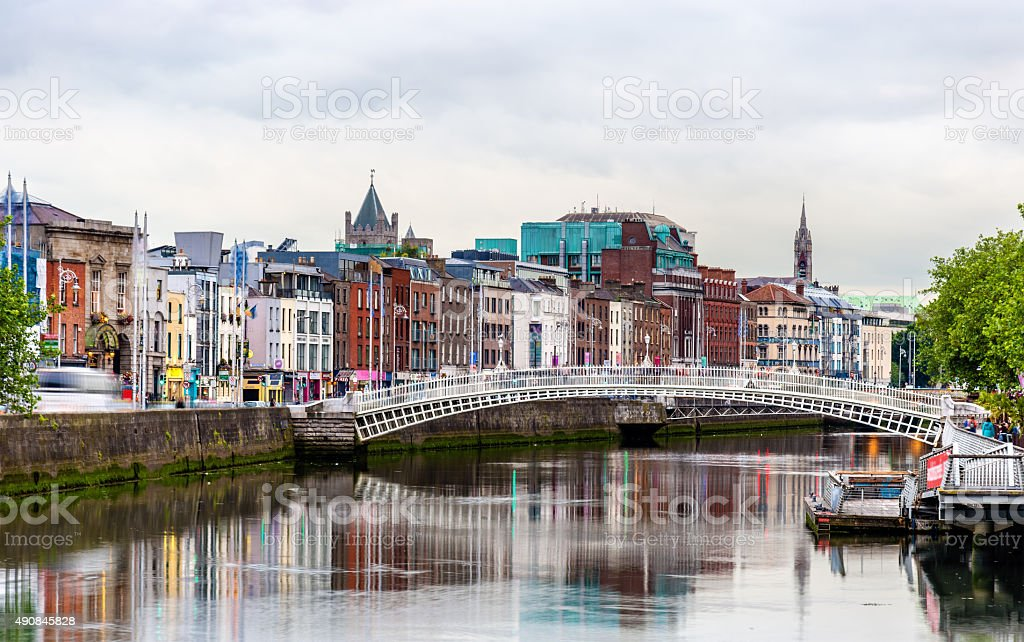 View of Dublin with the Ha'penny Bridge - Ireland stock photo
