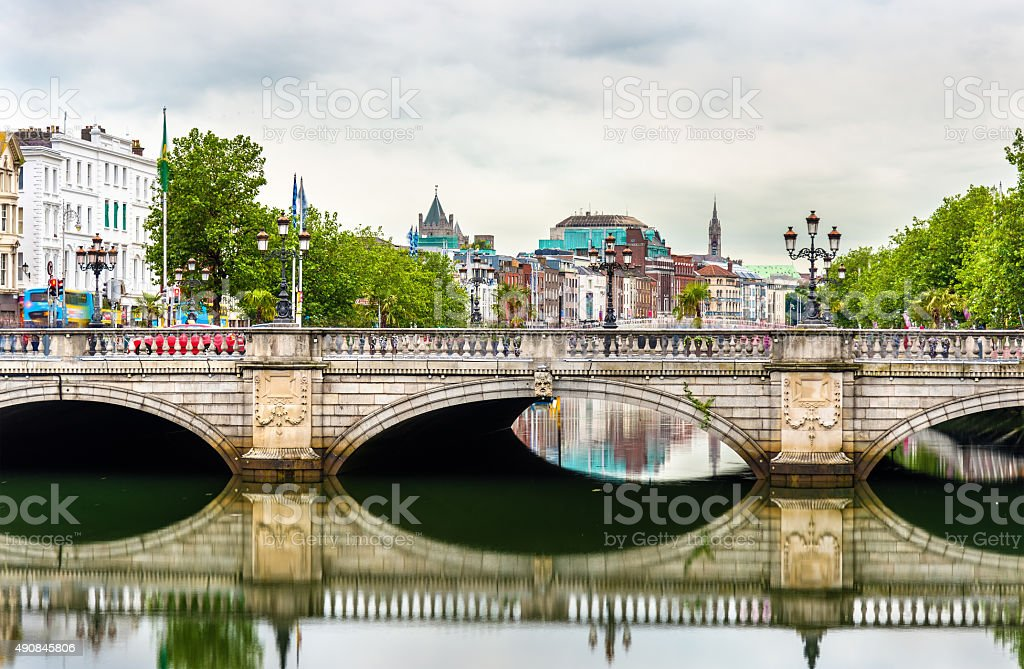 View of Dublin with the O'Connell Bridge - Ireland stock photo