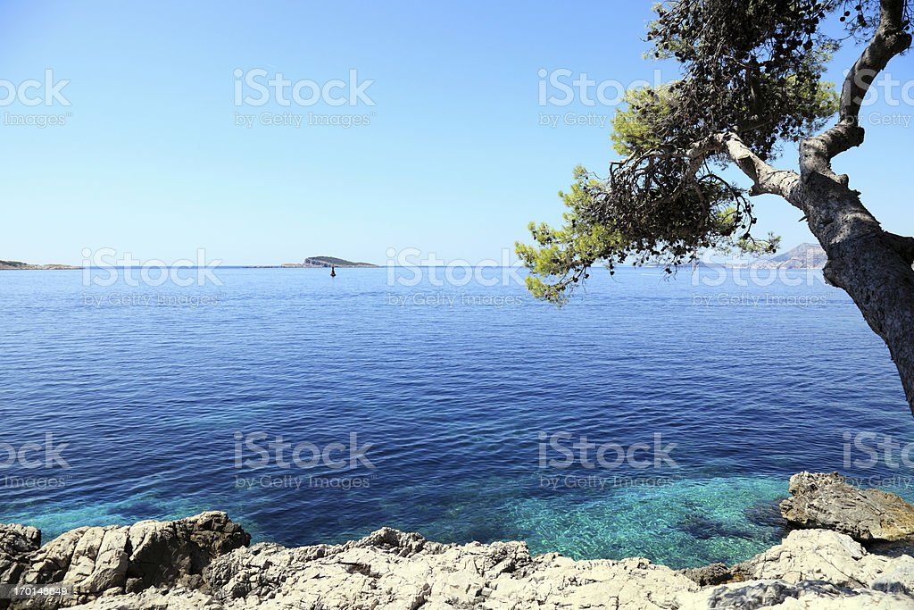 View of Dubrovnik from Cavtat peninsula stock photo