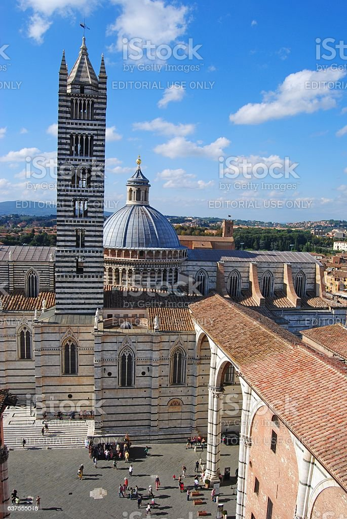 View of Duomo church in Siena. stock photo