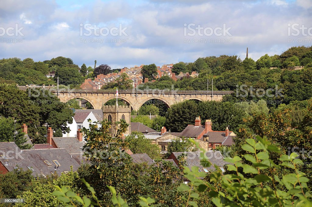 View of Durham Viaduct, rooftops and church stock photo