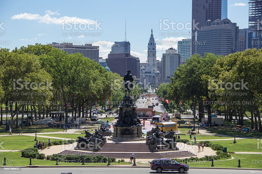 View of Eakins Oval from the Philadelphia Art Museum stock photo