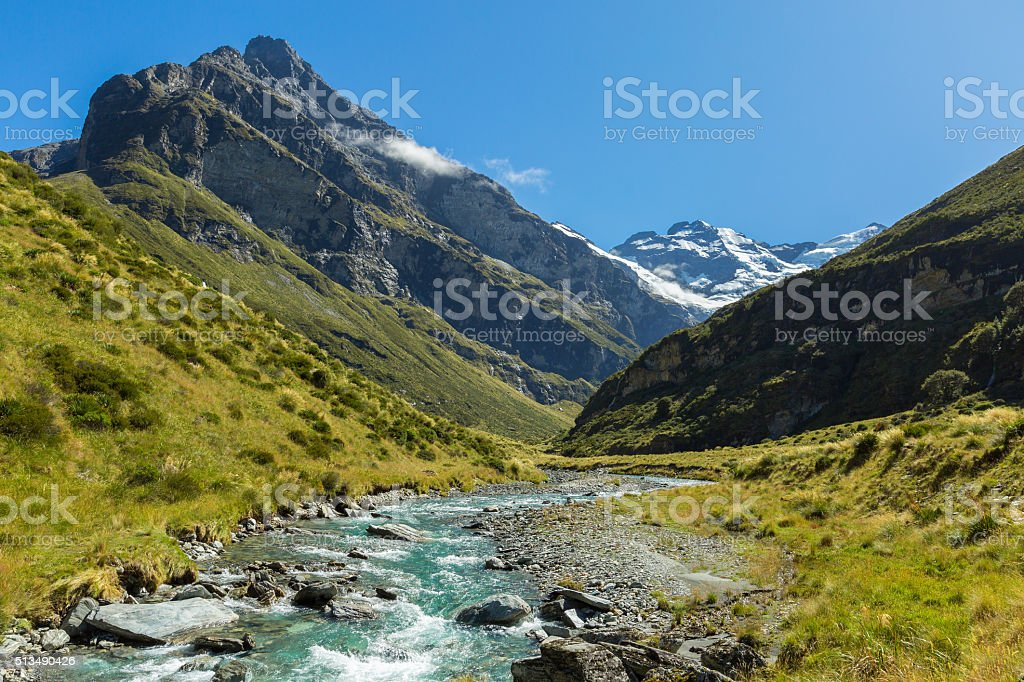 view of Earnslaw Burn Track in Glenorchy stock photo