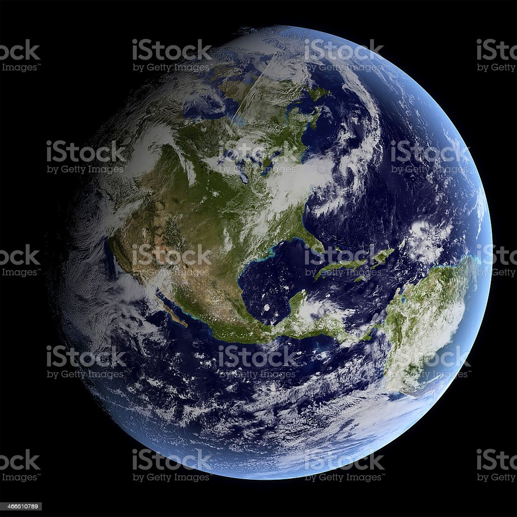 View of Earth from outer space stock photo