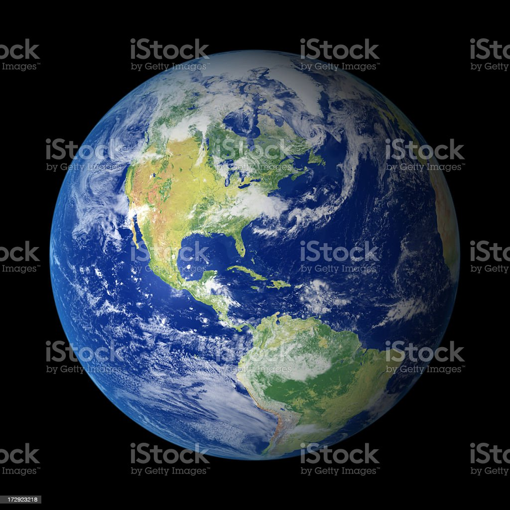 View of Earth from outer space with North America visible stock photo