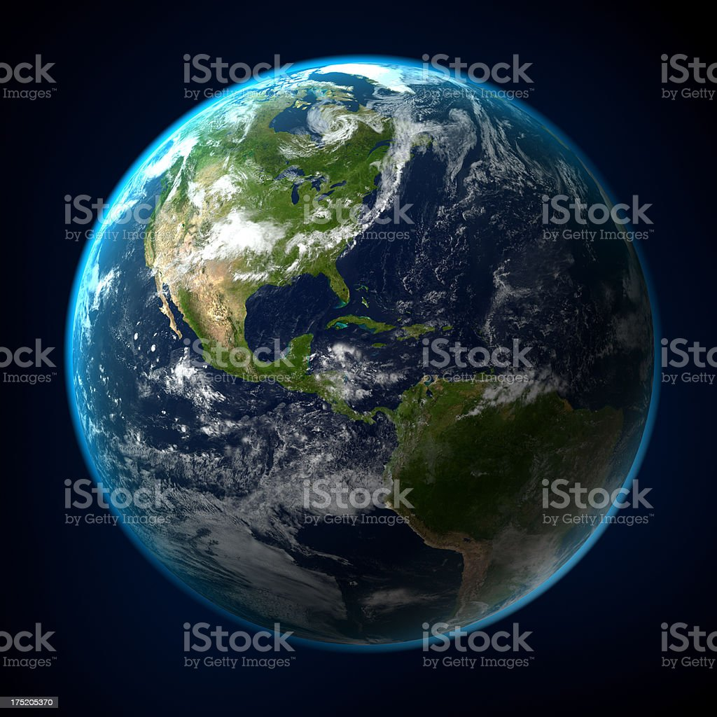 View of Earth from space with clipping path stock photo