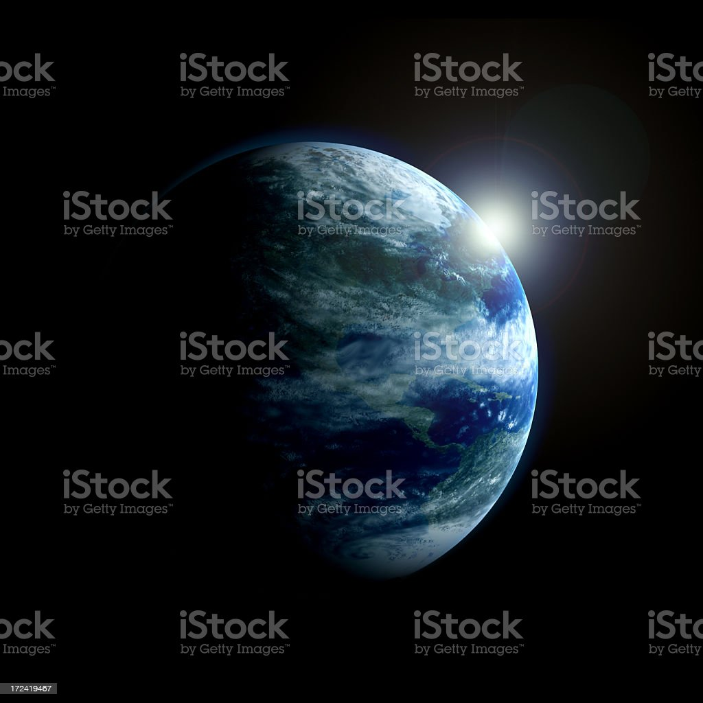 3D view of Earth from space with moon glowing behind stock photo