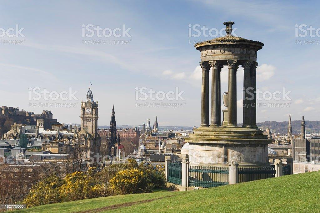 View of Edinburgh from Calton Hill garden stock photo