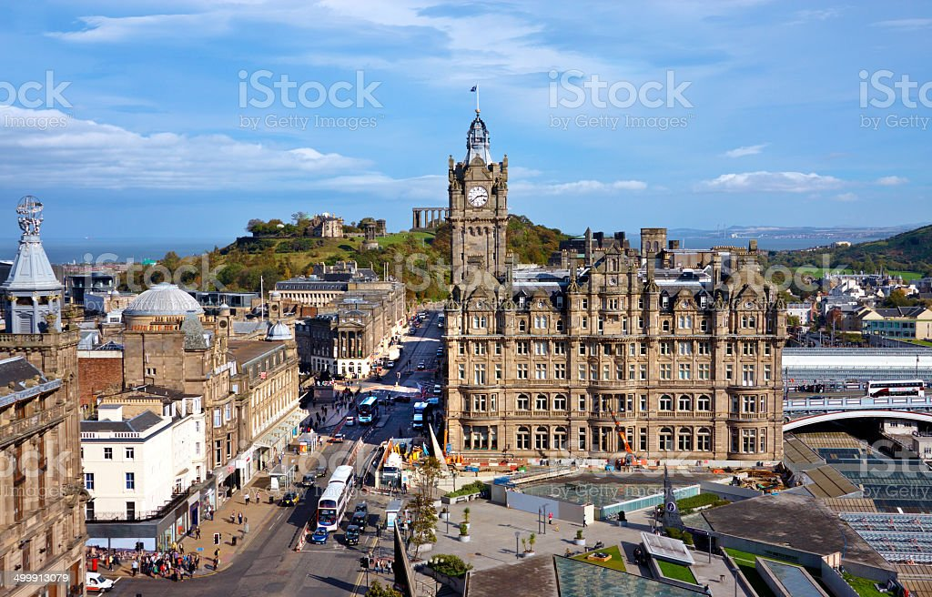 View of Ednburgh Scotland from above stock photo