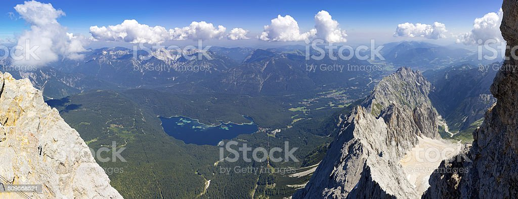 View of Eibsee Lake from Zugspitze Mountain stock photo