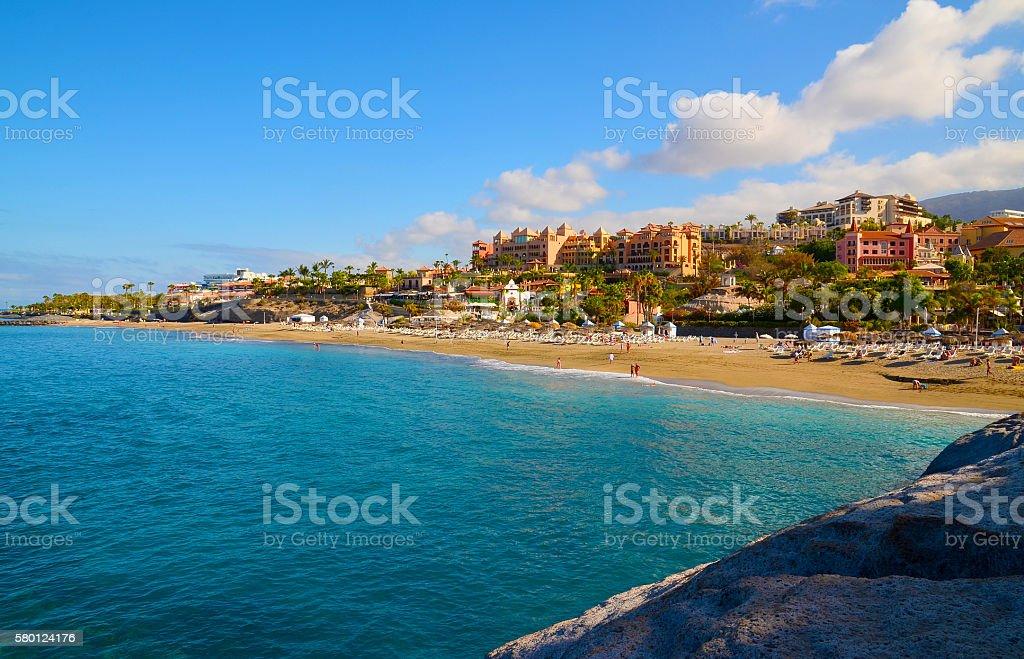 View of El Duque beach in Costa Adeje,Tenerife. stock photo