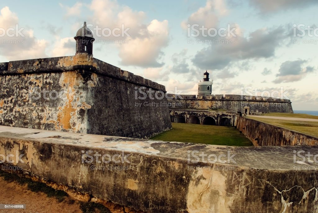 View of El Morro Fort with sunset sky, San Juan, Puerto Rico stock photo