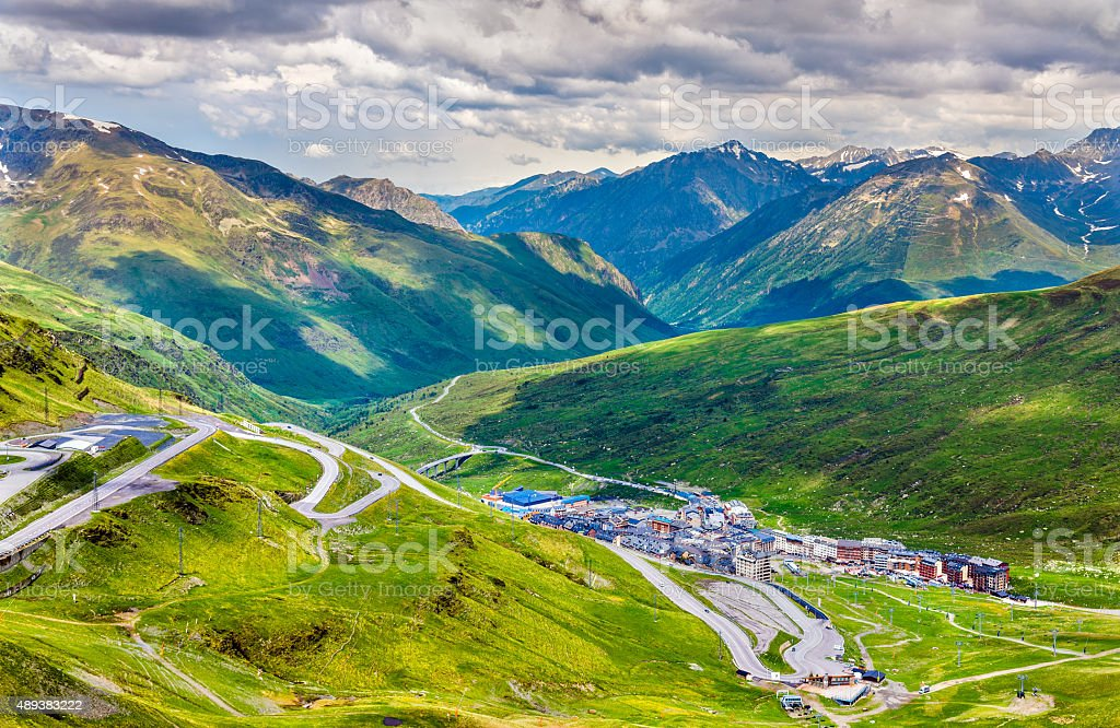 View of El Pas de la Casa from a mountain stock photo