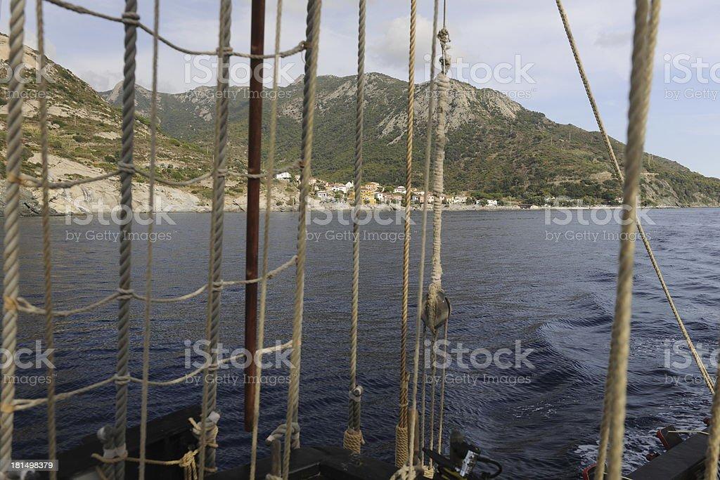 View of Elba through rigging royalty-free stock photo