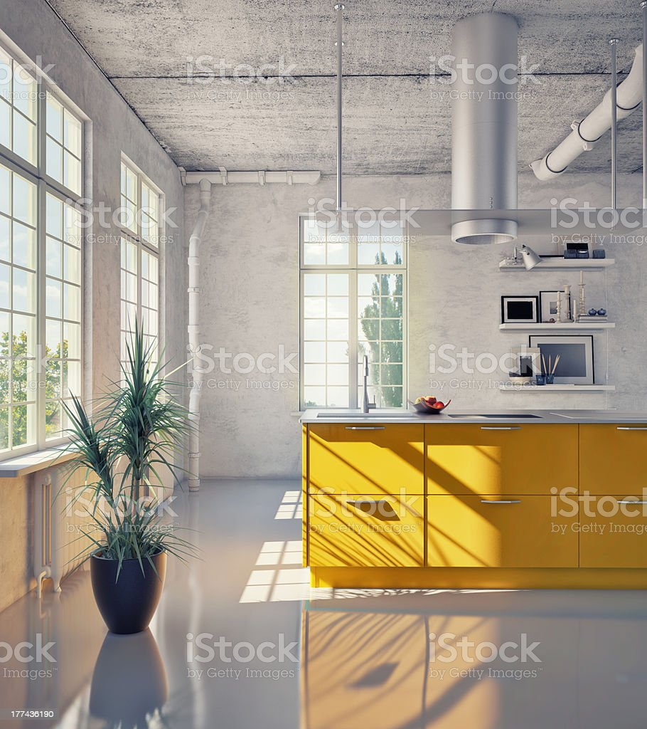 View of elegant kitchen stock photo
