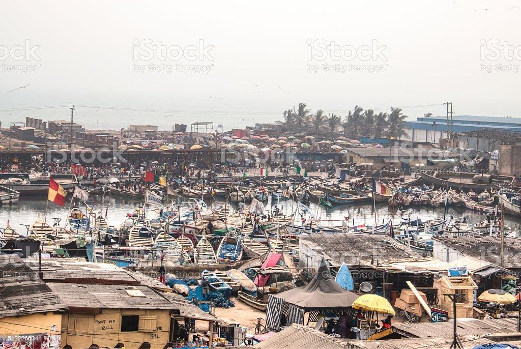 View of Elmina in Ghana stock photo