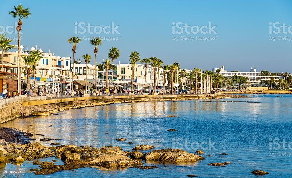 View of embankment at Paphos Harbour - Cyprus stock photo