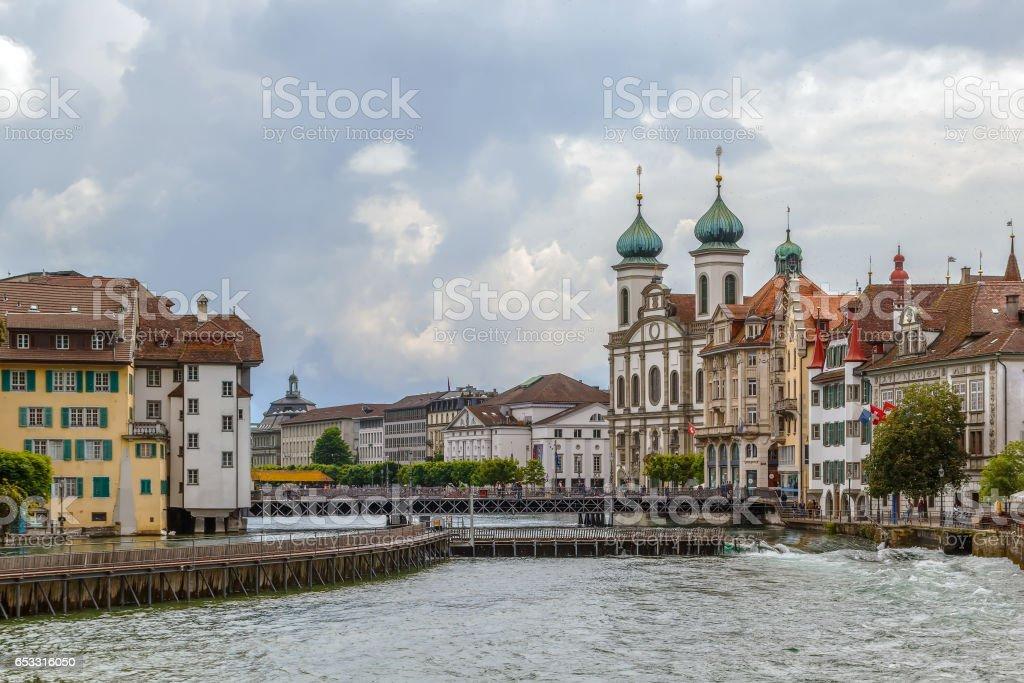 View of embankment of Reuss river in Lucerne, Switzerland stock photo