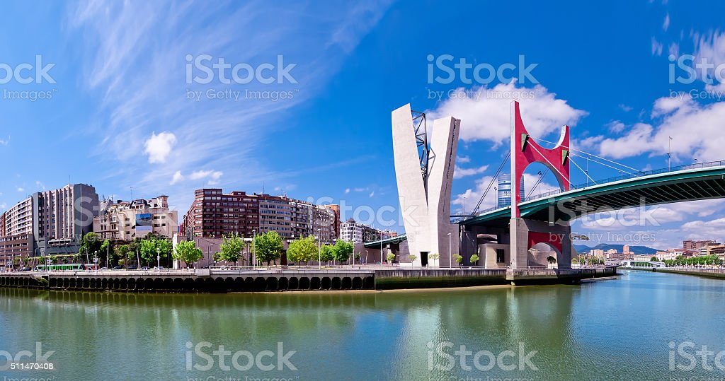 view of embankment of river Nervion O de Bilbao stock photo