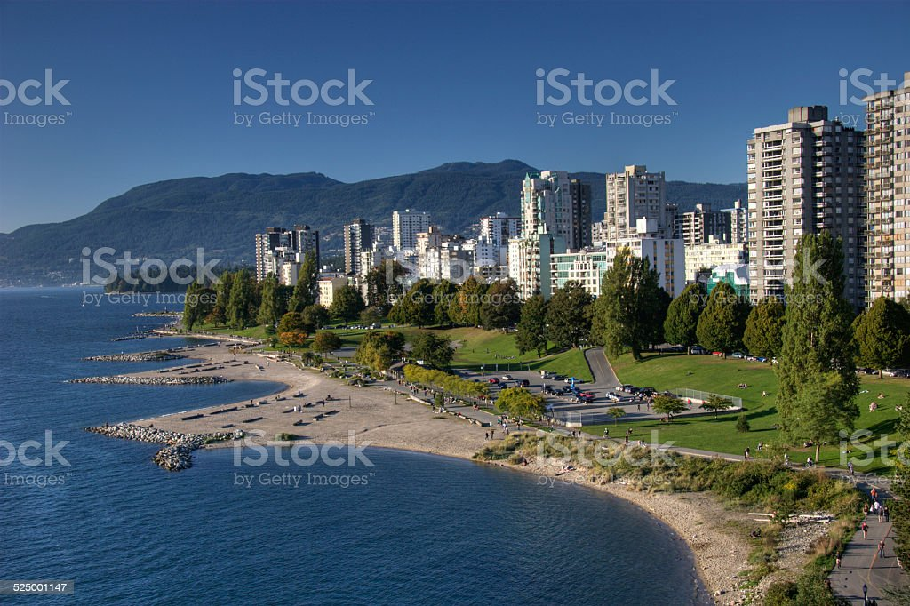 View of English Bay Beach and west end, Vancouver BC stock photo