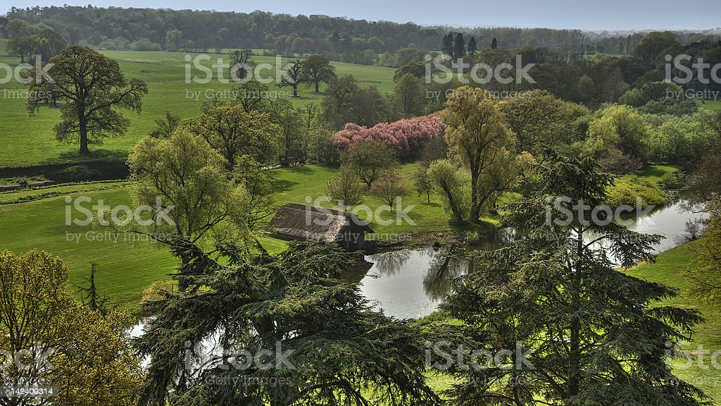 View of English fields at autmn stock photo