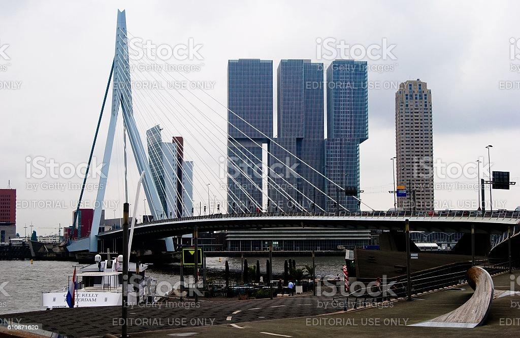 View of Erasmusbrug bridge in Rotterdam stock photo