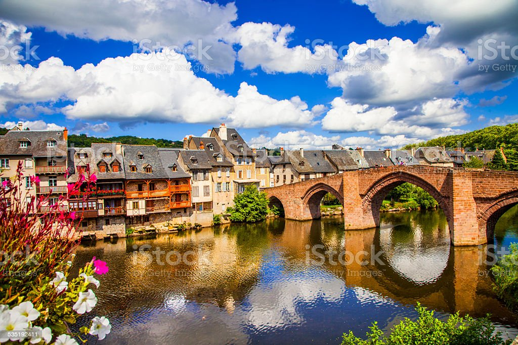 View of Espalion, France. stock photo