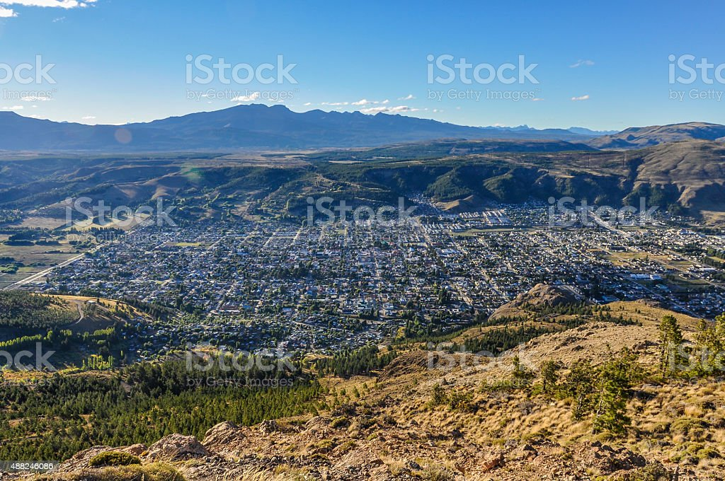 View of Esquel, Argentina stock photo